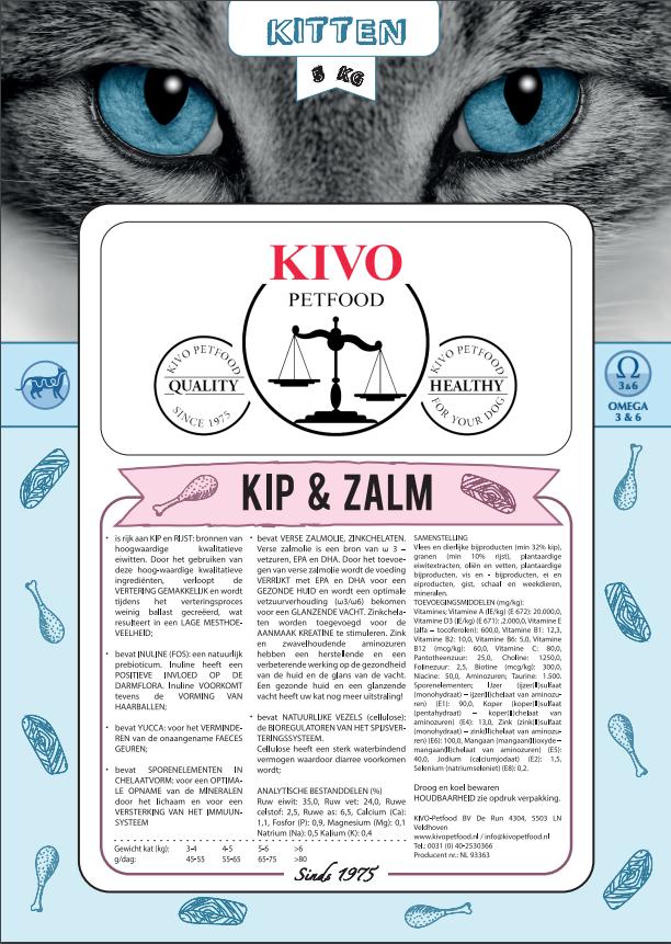 Kivo kip/zalm kattenvoer junior premium - Foto 1
