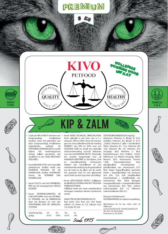 Kivo kip/zalm kattenvoer premium - Foto 1