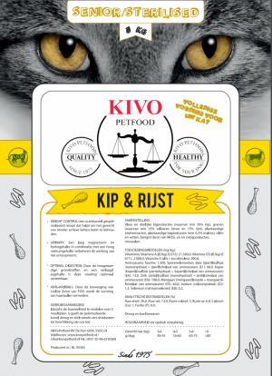 Kivo Kip/rijst kattenvoer sterilised